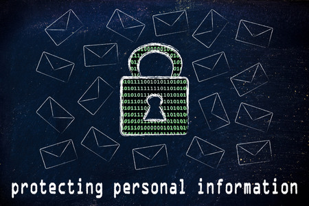 personal safety: protecting personal information and encryption: lock with binary code texture surrounded by flying mails