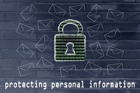 encryption: protecting personal information and encryption: lock with binary code texture surrounded by flying mails