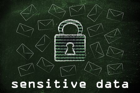 encryption: sensitive data security and encryption: lock with binary code texture surrounded by flying mails