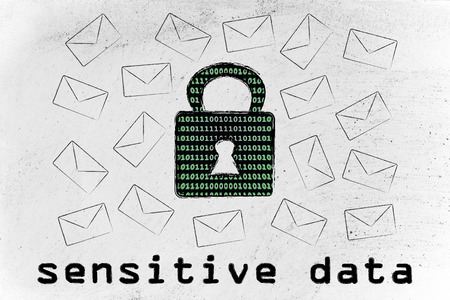 sensitive: sensitive data security and encryption: lock with binary code texture surrounded by flying mails
