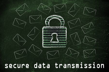secure data: secure data transmission and encryption: lock with binary code texture surrounded by flying mails