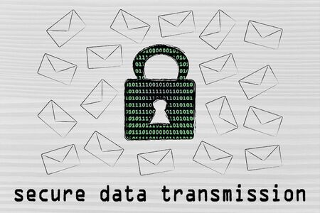 encryption: secure data transmission and encryption: lock with binary code texture surrounded by flying mails