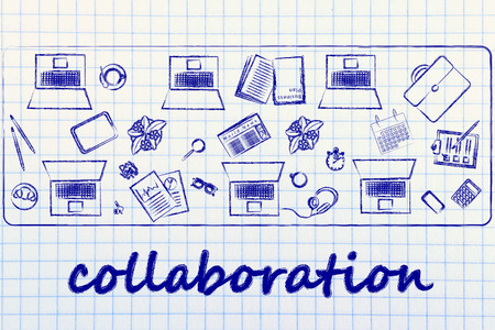 organizing: organizing and collaborating: laptops and office objects on shared desk