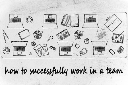 teawork and productivity: laptops and office objects on shared desk photo