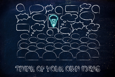 stand out: one bright idea in the middle of a talking group of people, stand out from the crowd and be unique
