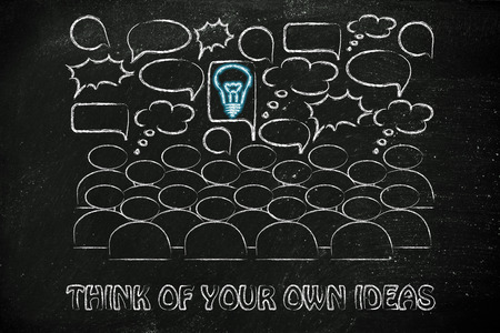 different goals: one bright idea in the middle of a talking group of people, stand out from the crowd and be unique