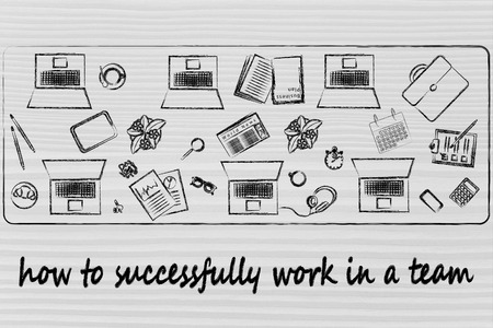 shared: teawork and productivity: laptops and office objects on shared desk Stock Photo