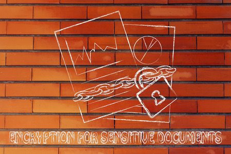sensitive: set of business documents with chain and lock, encryption for sensitive documents