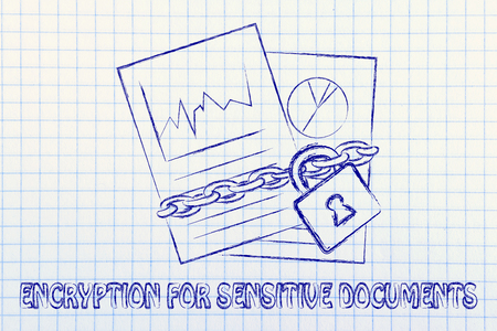 set of business documents with chain and lock, encryption for sensitive documents photo