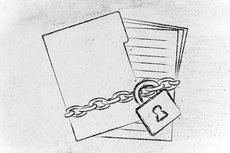 folder of documents with chain and lock, protecting private documents photo