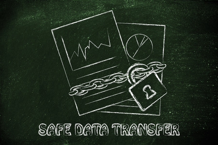 set of business documents with chain and lock, safe data transfer photo