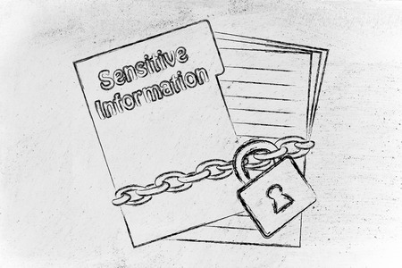 set of business documents with chain and lock, protecting sensitive information photo