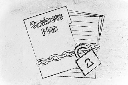 set of business documents with chain and lock, secret business plan photo