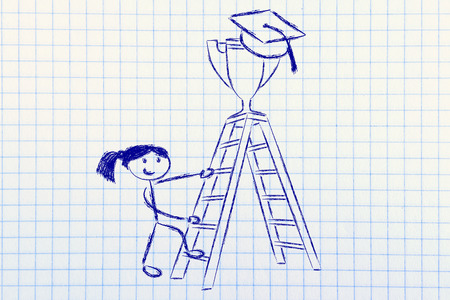 achieving: graduation hat and trophy up a ladder, concept of achieving educational (girl version) Stock Photo