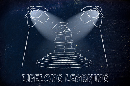 lifelong: book pile with graduation hat and spotlights, concept of lifelong learning