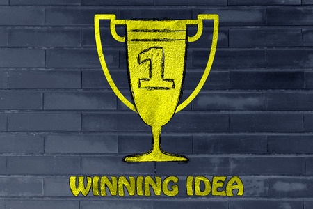 winning idea: metaphor of achieving a winning idea, golden trophy with number one