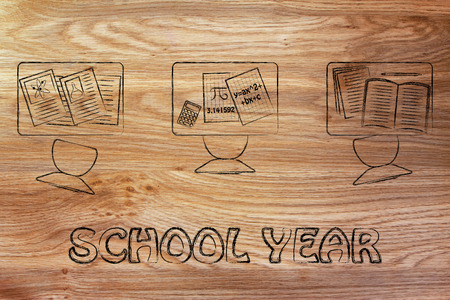 school year: school year: classroom tables with mixed objects