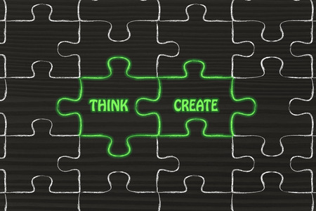 matching: matching jigsaw puzzle pieces metaphor: think & create