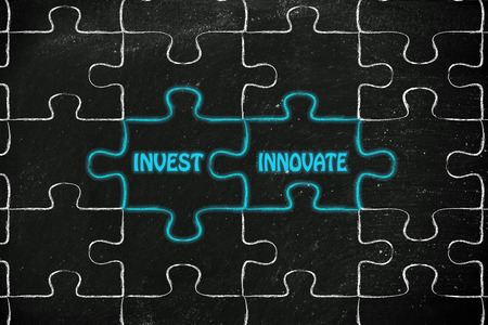 matching: matching jigsaw puzzle pieces metaphor: invest & innovate