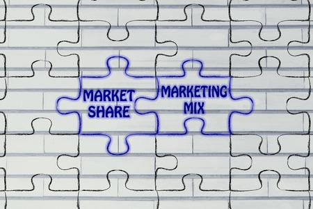 market share: matching jigsaw puzzle pieces metaphor: market share & marketing mix Stock Photo