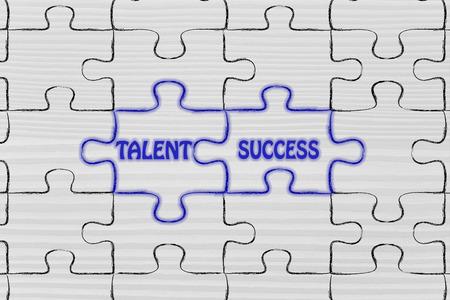 matching: matching jigsaw puzzle pieces metaphor: talent & success