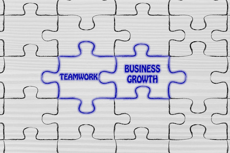 matching jigsaw puzzle pieces metaphor: teamwork & business growth