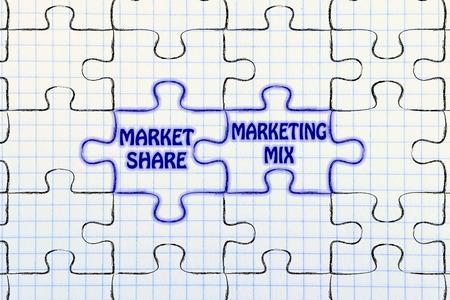 matching: matching jigsaw puzzle pieces metaphor: market share & marketing mix Stock Photo
