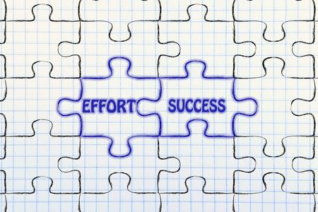 matching: matching jigsaw puzzle pieces metaphor: effort & success Stock Photo