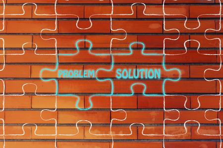 problem solution: matching jigsaw puzzle pieces metaphor: problem & solution