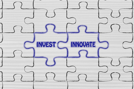 to innovate: matching jigsaw puzzle pieces metaphor: invest & innovate