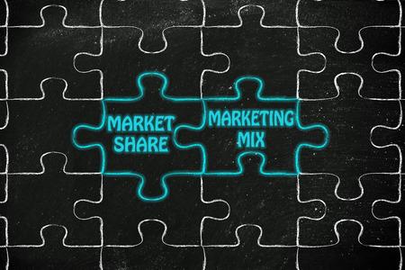 marketing mix: matching jigsaw puzzle pieces metaphor: market share & marketing mix Stock Photo