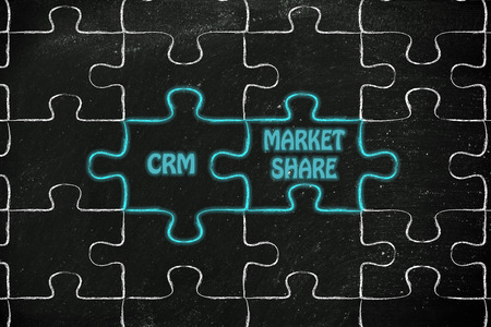matching: matching jigsaw puzzle pieces metaphor: customer relationship management & market share