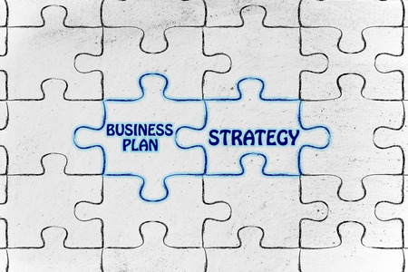 matching: matching jigsaw puzzle pieces metaphor: business plan & strategy