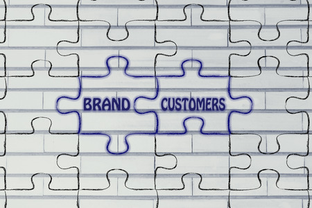 matching: matching jigsaw puzzle pieces metaphor: brand & customers