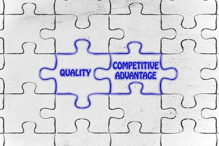 matching jigsaw puzzle pieces metaphor: quality & competitive advantage