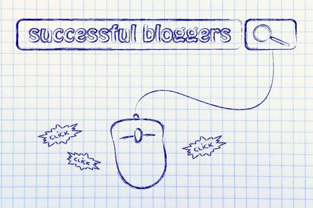 bloggers: Successful Bloggers tags in search bar with computer mouse, concept of internet business and blogs