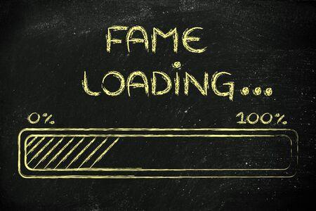 fame: progress bar, funny design with concept of fame loading