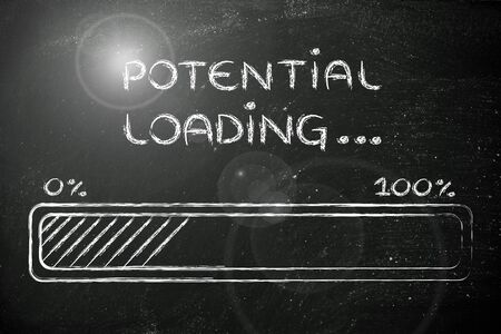 potential: progress bar, funny design with concept of potential loading