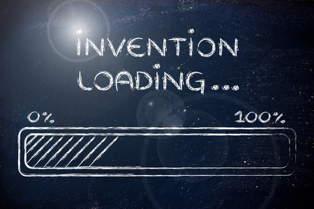 invention: progress bar, funny design with concept of invention loading Stock Photo