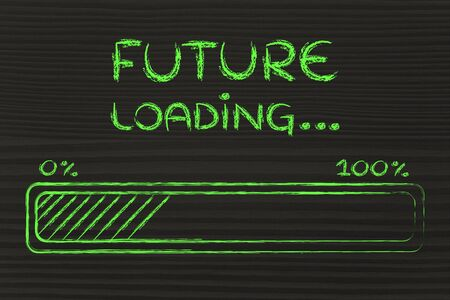 expectation: progress bar, funny design with concept of future loading