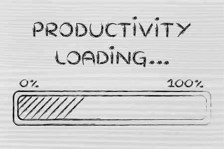 productivity: progress bar, funny design with concept of productivity loading