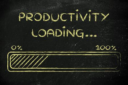 gestion del tiempo: barra de progreso, dise�o divertido con concepto de carga de la productividad
