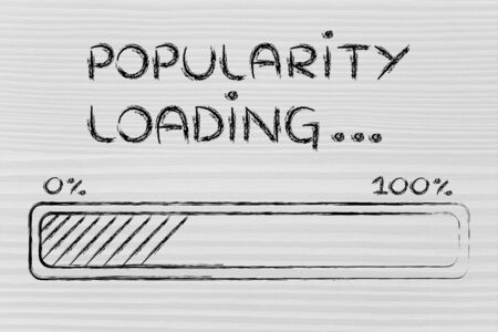by popularity: progress bar, funny design with concept of popularity loading