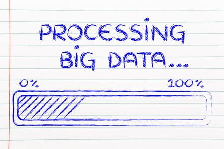 data processing: big data processing and storage: progress bar loading content Stock Photo