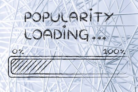 popularity popular: progress bar, funny design with concept of popularity loading