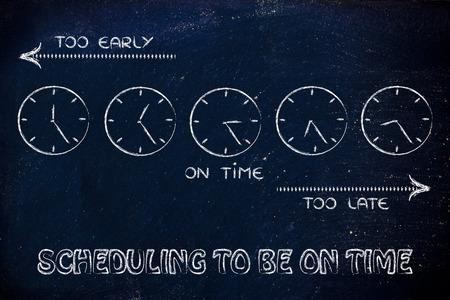 llegar tarde: a tiempo, demasiado pronto y demasiado tardíos relojes: se centran en la programación para llegar a tiempo Foto de archivo