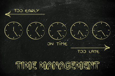 too late: on time, too early and too late clocks: focusing on proper time management Stock Photo