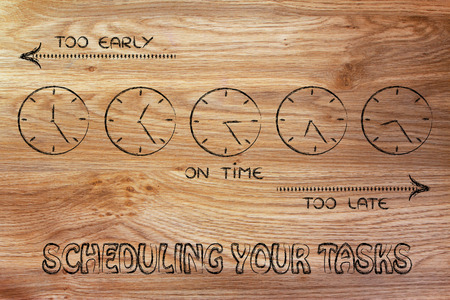 too late: on time, too early and too late clocks: scheduling your tasks Stock Photo