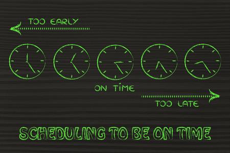 llegar tarde: a tiempo, demasiado pronto y demasiado tard�os relojes: se centran en la programaci�n para llegar a tiempo Foto de archivo
