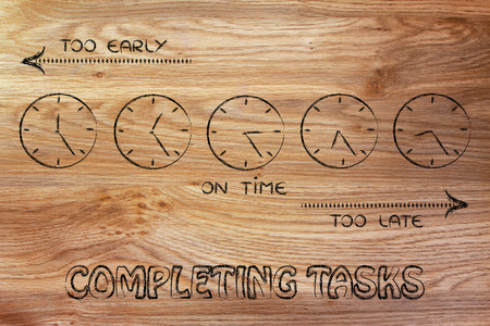 too late: on time, too early and too late clocks: focusing on completing tasks Stock Photo